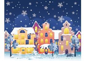 冬季街景夜景雪花插画设计
