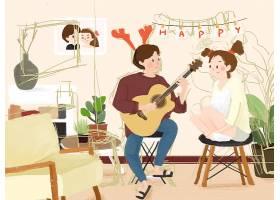 音乐达人浪漫卡通画新年快乐情人节快乐插画图片海报素材