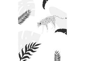 黑白时尚T恤热带风格植物动物无缝装饰底纹