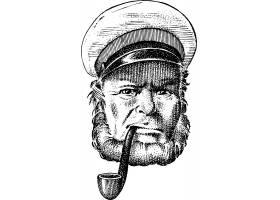 复古船长手绘插画头像