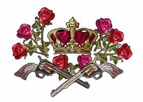 皇冠和玫瑰T恤印花图案