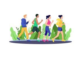 卡通漫画跑步锻炼身体的人群