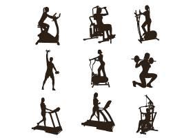 高清跑步运动锻炼的人物剪影