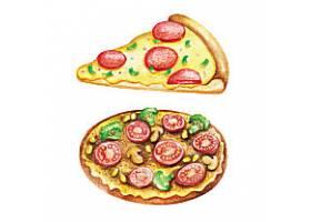 美味披萨水彩快餐插图元素