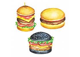 美味食品水彩快餐插图元素
