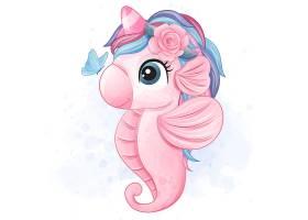 粉色海马形象卡通手绘清新插画设计