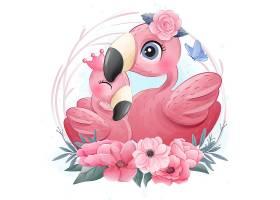 火烈鳥形象卡通手繪清新插畫設計