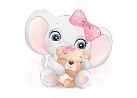 大象與熊形象卡通手繪清新插畫設計