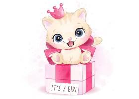 猫咪礼物盒形象卡通手绘清新插画设计