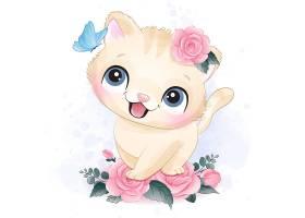 小猫咪形象卡通手绘清新插画设计