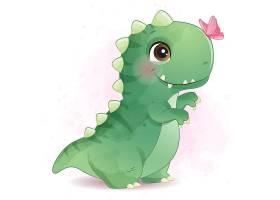 恐龍形象卡通手繪清新插畫設計