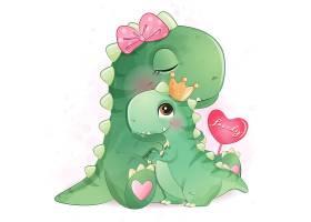 恐龍擁抱形象卡通手繪清新插畫設計