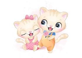 可愛貓咪形象卡通手繪插畫設計