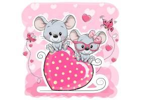可愛老鼠情人節形象卡通手繪插畫設計