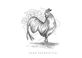 公鸡形象手绘单色线稿插画设计