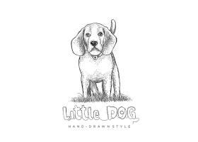 狗形象手繪單色線稿插畫設計