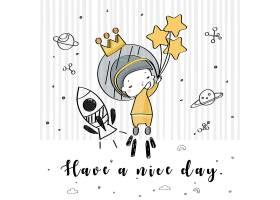 宇航员女孩形象卡通手绘插画设计
