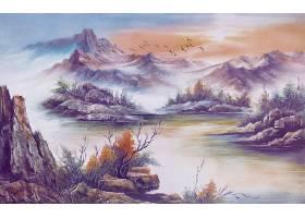 山水画3D背景
