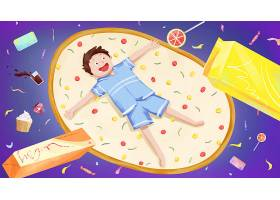 文艺清新手绘儿童节主题插画海报背景设计