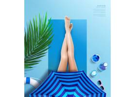 夏季防晒美白主题夏天海报