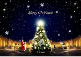 时尚创意圣诞树灯饰圣诞节平安夜节日气氛主题海报设计