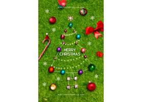 绿色草皮背景时尚创意圣诞节平安夜节日气氛主题海报设计