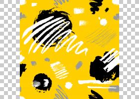 黄黑色抽象涂鸦风格装饰插画无缝装饰图案素材