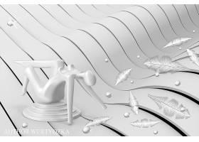 白色羽毛3D背景墙
