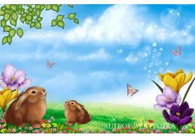 高清创意卡通兔子插画海报3D壁纸