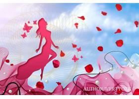 精美剪影蝴蝶的女孩3D壁纸海报背景设计素材