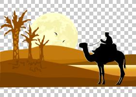 水彩画,野生动物,剪影,牲畜,风沙地貌,景观,自然环境,阿拉伯骆驼,