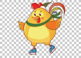 春节美食卡通,鸟,喙,食物,绘图,动画,中国的十二生肖,公鸡,中国新