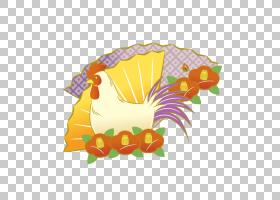 春节花卉背景,机翼,黄色,喙,花,中国的十二生肖,公鸡,免费赠送,风