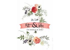 创意时尚花卉元素邀请函请柬封面模板