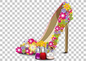 三月八日妇女节,鞋子,高跟鞋,洋红色,花瓣,鞋类,户外鞋,紫色,粉红