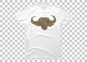 T恤领口,白色,T恤衫,顶部,美国野牛,脖子,动物,绘图,非洲水牛,袖