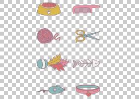 小猫卡通,线路,材料,粉红色,工具,哥米托洛,个人美容,动物,剪刀,