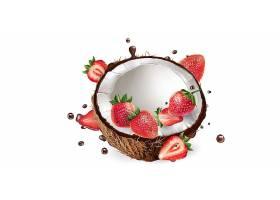 高清美味新鲜草莓椰汁水果巧克力溅现实插图设计素材