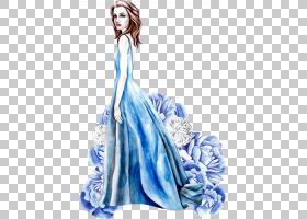 蓝色裙女性主题时尚插画免扣素材图片