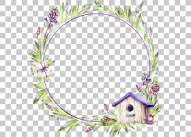 小房子和水彩画花卉