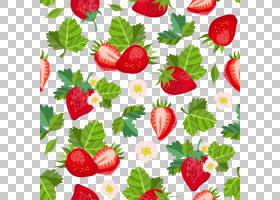 草莓无缝装饰图案手绘插画免扣元素素材