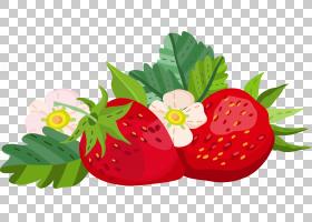 草莓植物手绘插画免扣元素素材