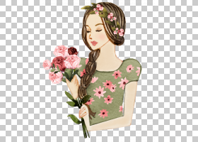 清新手绘水彩彩铅女性与花卉插画免扣素材图片