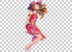 色彩丰富的手绘水彩彩铅女性人物角色插画免扣素材
