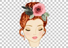 清新手绘水彩彩铅女性与花卉插画免扣素材