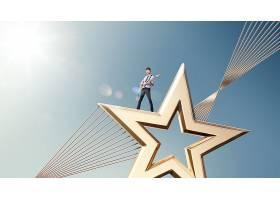 金色星星与演唱者人物主题极简创意大气广告海报