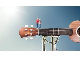 吉他与人物老人主题极简创意大气广告海报