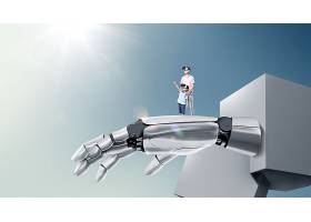 机器人手臂与父子人物主题极简创意大气广告海报