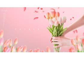 粉色清新文艺花瓣花卉主题海报模板