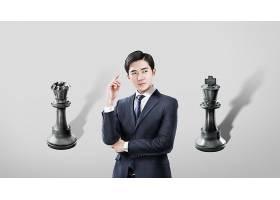 商务男子与国际象棋主题韩式海报设计
